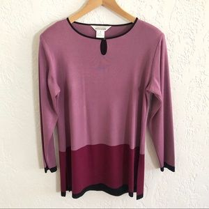Misook Color Block Tunic Sweater Rose / Burgundy M